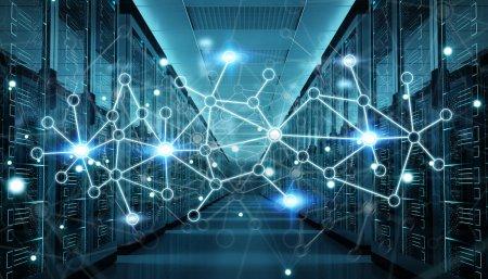 Foto de Sala de servidores del centro de intercambio cyber datos y conexiones render 3d - Imagen libre de derechos