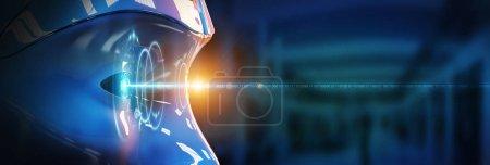 Foto de Cabeza de Cyborg utilizando inteligencia artificial para crear interfaz digital sobre fondo bokeh de ciudad 3d renderizado - Imagen libre de derechos