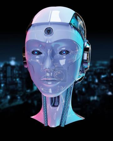 Cyborg head artificial intelligence 3D rendering