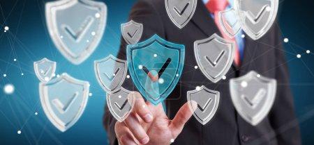 Businessman using modern data shield antivirus 3D rendering
