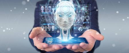 Photo pour Homme d'affaires sur fond flou en utilisant l'interface d'intelligence artificielle numérique rendu 3D - image libre de droit
