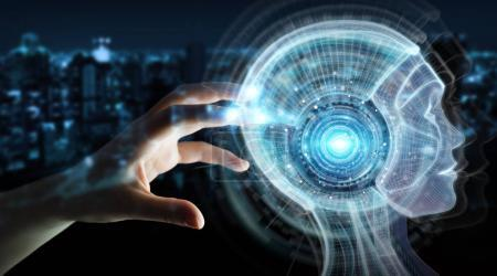 Businesswoman using digital artificial intelligence interface 3D