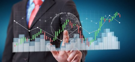 Businessman using digital 3D rendered stock exchange stats and c