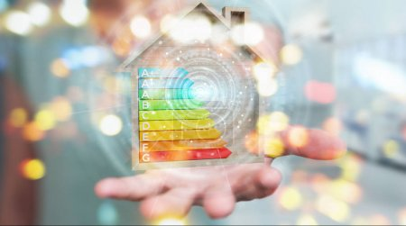 Businesswoman using 3D rendering energy rating chart in a wooden