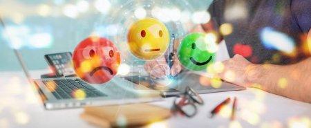 Graphic designer using customer satisfaction rating 3D rendering