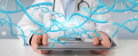 Photo for Doctor on blurred background holding blue digital DNA structure 3D rendering - Royalty Free Image