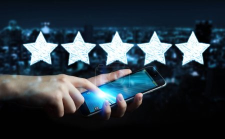 Businessman rating with hand drawn stars