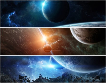 Photo for Collection of panorama of distant planet system in space 3D rendering elements of this image furnished by NASA - Royalty Free Image