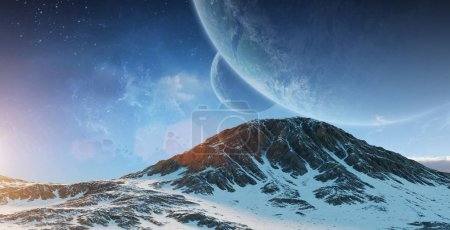 Exoplanets in space 3D rendering elements of this image furnishe