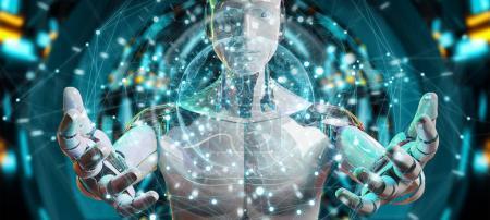 Photo pour Robot mâle blanc sur fond flou en utilisant l'interface d'écran numérique rendu 3D - image libre de droit