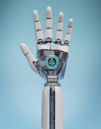 Photo pour Cyborg blanc ouvrant sa main isolé sur fond bleu rendu 3D - image libre de droit