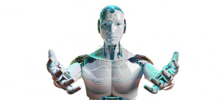White male cyborg opening his two hands 3D rendering