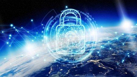 Photo pour Cybersécurité et les connexions avec les éléments de rendu 3d globe cette image fournie par la Nasa - image libre de droit