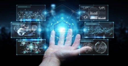 Businessman using digital screens interface with holograms datas