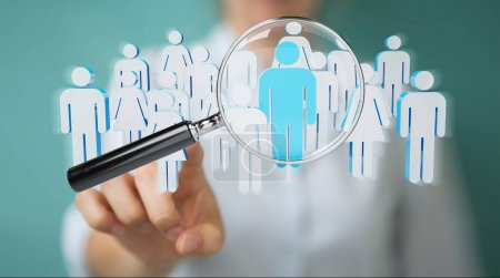 Businesswoman using magnifying glass to recruit people 3D render