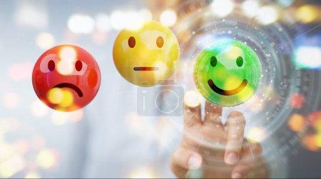 Photo pour Femme d'affaires sur fond flou à l'aide de rendu 3d de notation de la satisfaction client - image libre de droit