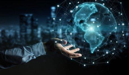 Photo pour Homme d'affaires sur fond flou en utilisant l'interface de carte du monde des États-Unis rendu 3D - image libre de droit