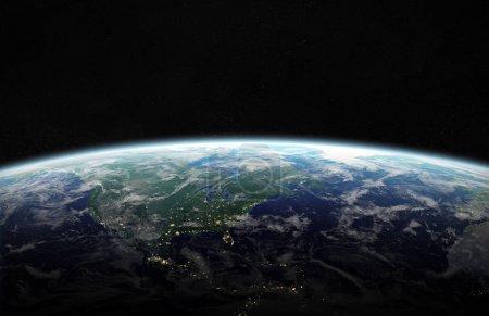 Photo pour Vue de la planète bleue la terre dans l'espace avec son continent d'Amérique ambiance 3d rendu des éléments de cette image fournie par la Nasa - image libre de droit