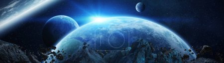 Photo for Panoramic view of planets in distant solar system in space 3D rendering elements of this image furnished by NASA - Royalty Free Image