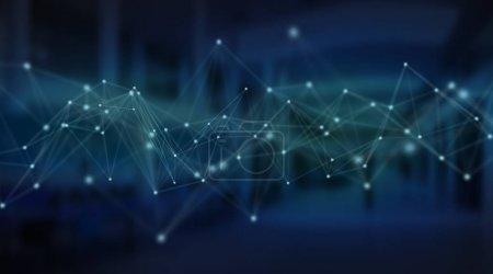 Photo pour Illustration d'interface de connexion futuriste sur fond bleu rendu 3D - image libre de droit
