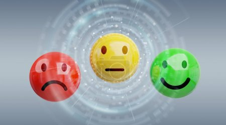 Customer satisfaction rating with smiley 3D rendering