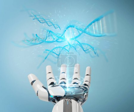 Photo for White cyborg hand on blurred background scanning human DNA 3D rendering - Royalty Free Image