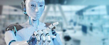 Photo pour Femme blanche cyborg pointant son doigt sur fond de vaisseau spatial rendu 3D - image libre de droit