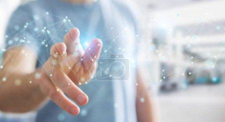 Photo pour Homme d'affaires sur fond flou en utilisant l'interface de connexion futuriste rendu 3D - image libre de droit