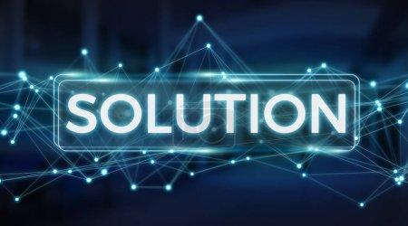 Photo pour Solution interface texte numérique isolée sur fond bleu rendu 3D - image libre de droit
