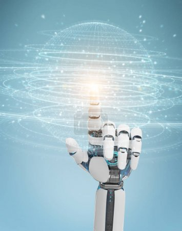 Photo for White robot hand on blurred background using digital sphere connection hologram 3D rendering - Royalty Free Image