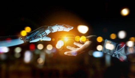 Photo pour Main cyborg blanche sur le point de toucher la main humaine sur fond sombre rendu 3D - image libre de droit