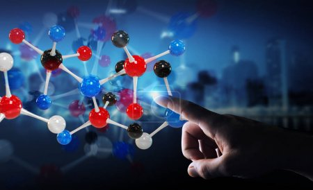 Photo for Businessman on blurred background using modern molecule structure 3D rendering - Royalty Free Image