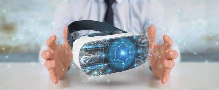 Photo pour Homme d'affaires sur fond flou en utilisant la technologie des lunettes de réalité virtuelle rendu 3D - image libre de droit