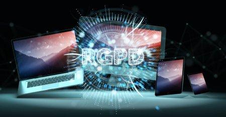 Foto de Interfaz digital Gdpr sobre tecnología render 3d y dispositivos y ordenadores - Imagen libre de derechos