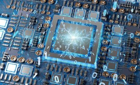 Photo pour Vue rapprochée d'une carte GPU moderne avec circuit et connexions rendu 3D - image libre de droit