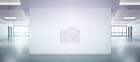 Photo pour Mur blanc dans une maquette de bureau lumineuse avec de grandes fenêtres et le soleil passant par le rendu 3D - image libre de droit
