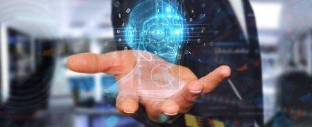 Photo pour Homme d'affaires sur fond flou en utilisant l'interface numérique de tête d'intelligence artificielle rendu 3D - image libre de droit