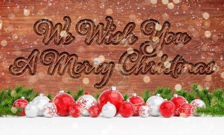 Photo pour Salutations de cartes de Noël avec bois sculpté et décorations rouges rendu 3D - image libre de droit