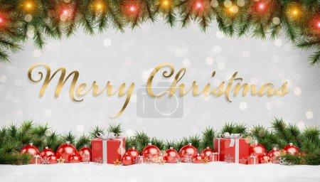 Photo pour Salutations de cartes de Noël avec des cadeaux de boules de Noël rouges et branche de pin alignés rendu 3D - image libre de droit