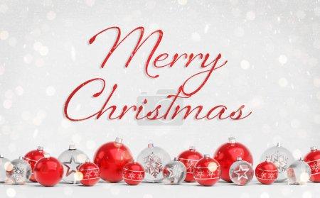 Photo pour Salutations de cartes de Noël avec des boules de Noël rouges et blanches sur fond blanc rendu 3D - image libre de droit