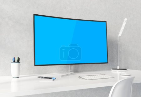 Photo for Curved monitor on white desktop and concrete interior mockup 3D rendering - Royalty Free Image