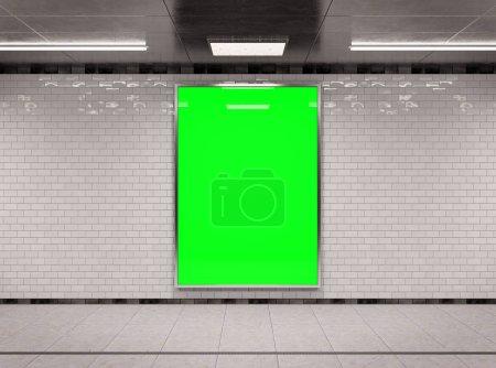Photo for Vertical A4 underground billboard frame Mockup 3D rendering - Royalty Free Image