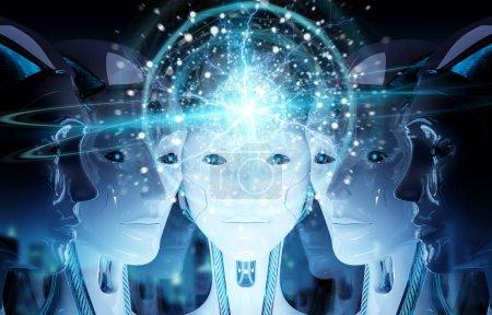 Photo pour Groupe de têtes de robots féminines créant une connexion de réseau de sphère numérique rendu 3d - image libre de droit