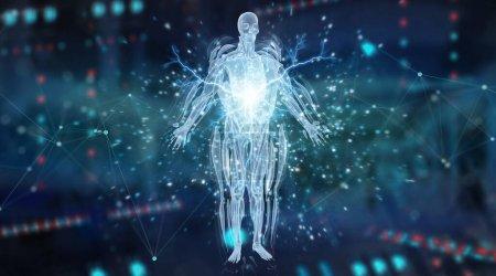Photo pour Projection numérique par balayage holographique du corps humain aux rayons X sur fond bleu foncé rendu 3D - image libre de droit