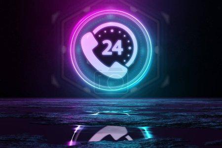 Photo pour Ligne directe icône holographique en cercle éclairant le sol avec bleu et rose néon lumière 3d - image libre de droit