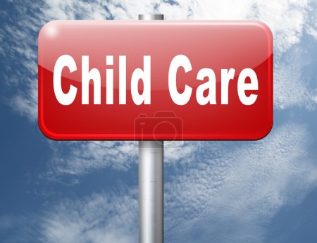 Photo pour Texte de soins des enfants sur la signalisation routière - image libre de droit