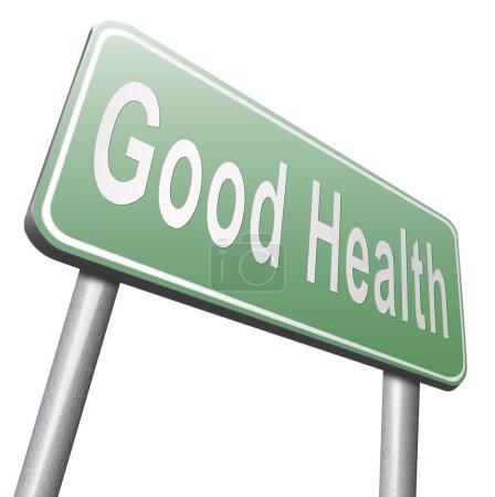 Photo pour Panneau de signalisation sain santé, panneau d'affichage sur fond blanc - image libre de droit