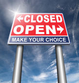 closed or open road sign
