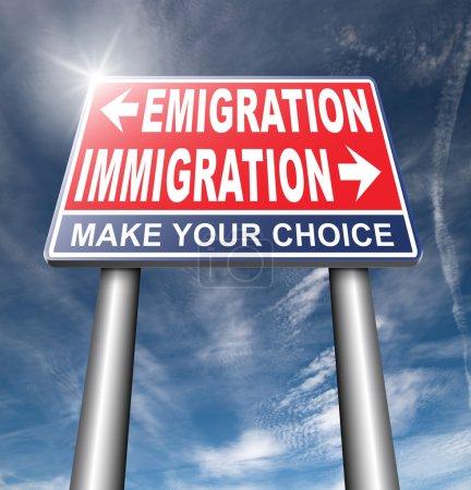 Immigration or emigration road sign, billboard