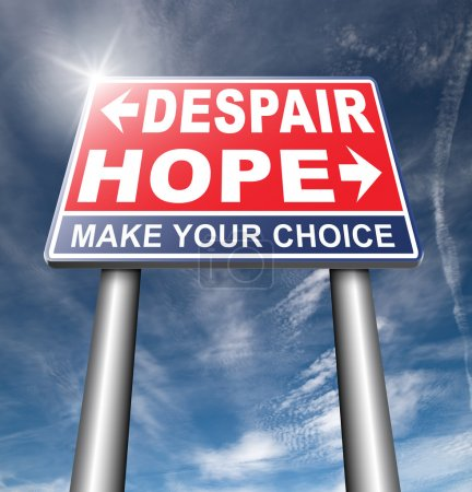 Photo for Hope or despair road sign on sky background - Royalty Free Image